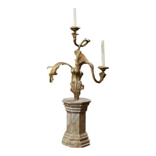 Whimsical Carved Giltwood Candelabra on Later Faux Marble Base For Sale