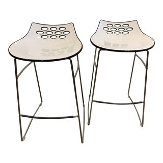 Contemporary Calligaris White and Black Acrylic Jam Counter Stools - a Pair For Sale