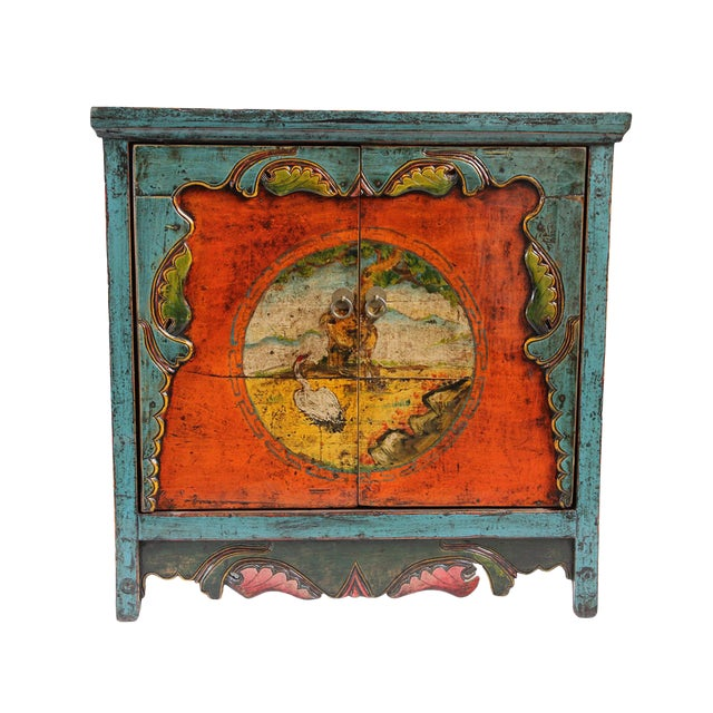Painted Mongolian Storage Cabinet For Sale