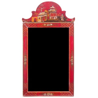 Georgian Style Red Lacquered Chinoiserie Mirror, Early 20th Century For Sale