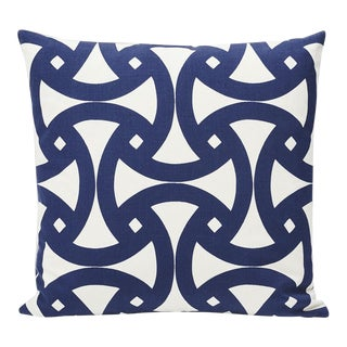 Schumacher Indoor/Outdoor Double-Sided Pillow in Santorini Print For Sale
