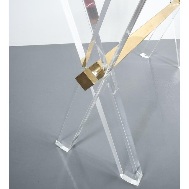 Lucite and Brass X Frame Console Table, Circa 1970 For Sale - Image 12 of 13