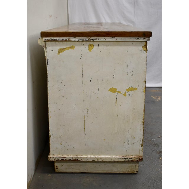 Massive Vintage Painted Pine and Oak Store Counter For Sale - Image 4 of 13