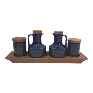 Mid-Century English Cobalt Blue Ceramic and Teak Condiment Set - 5 Pieces