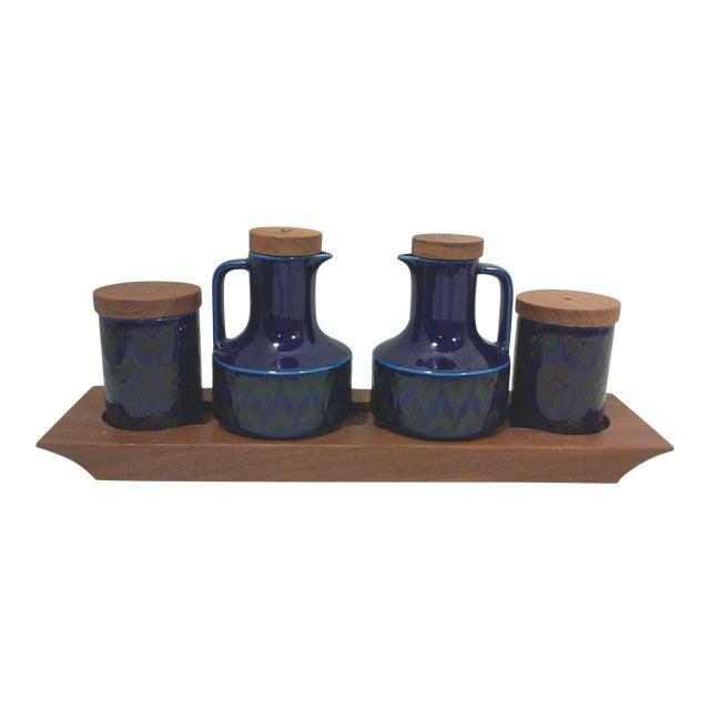 Mid-Century English Cobalt Blue Ceramic and Teak Condiment Set - 5 Pieces For Sale