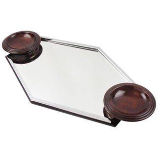 Art Deco Modernist Barware Cocktail Serving Tray Chrome Glass Wood For Sale