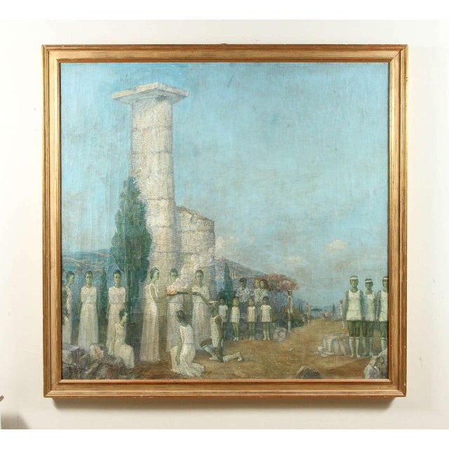 Olympic, thematic oil on canvas by Mikhail Dmitrievich Todorov of Odessa, Ukraine. Studied in Leningrad 1930s-1940s (the...