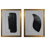 Image of Original Black and White Framed Paintings - Set of 2 For Sale