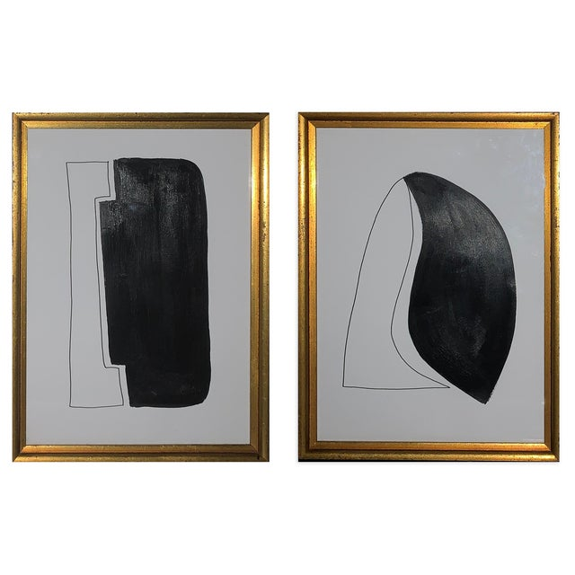 Original Black and White Framed Paintings - Set of 2 For Sale