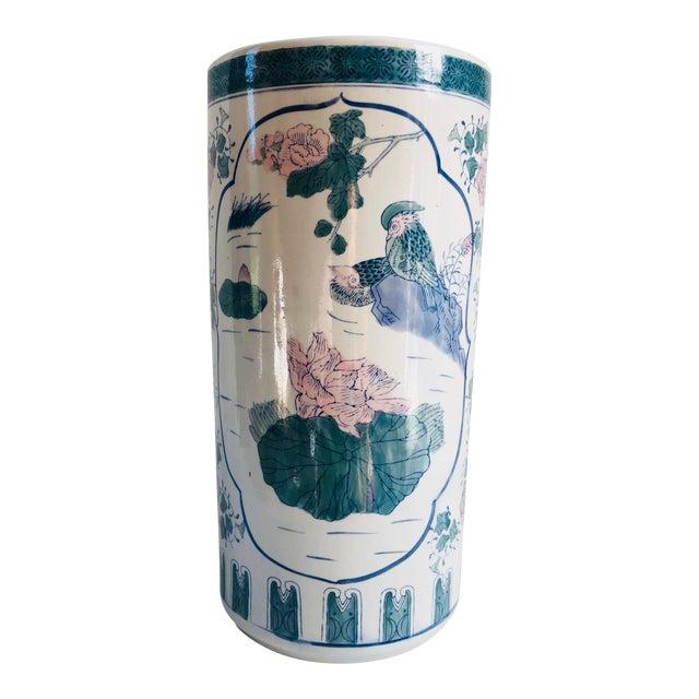 Vintage Chinoiserie Pink, Blue, Lavender & Green Chinese Porcelain Umbrella Holder For Sale