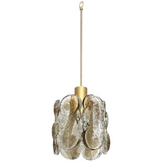 Vintage Brushed Brass and Gray Swirl Glass Pendant Chandelier by Kalmar For Sale