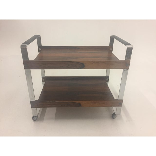 Mid Century Modern Rosewood and Chrome Bar Cart For Sale - Image 11 of 11
