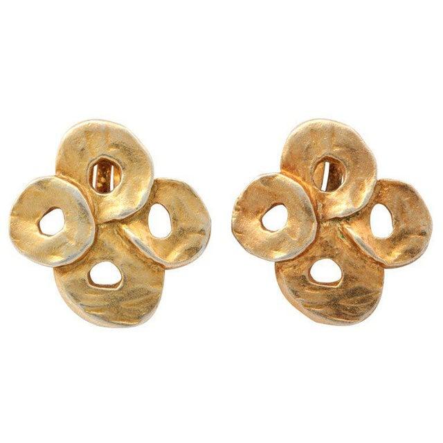 French Valerie Viloin Labbe Goldtone Earrings For Sale - Image 4 of 4