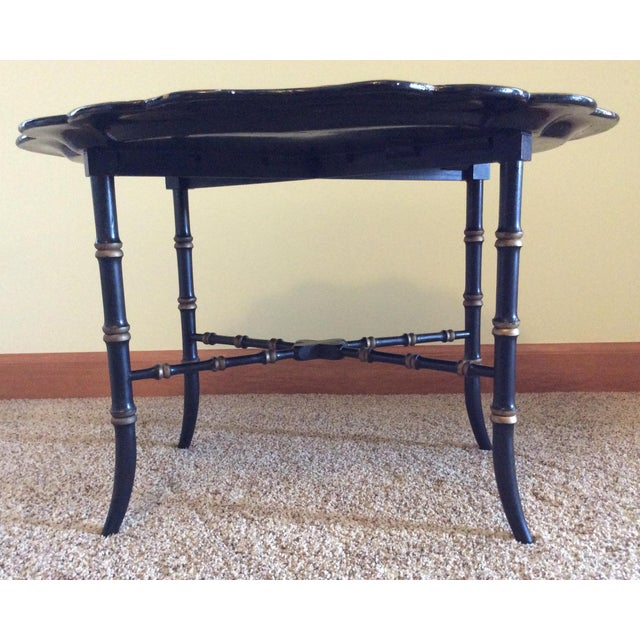 Late 19th Century Antique Chinoiserie Faux Bamboo Paper Mache Table With Mother of Pearl Inlay After Jennens and Betridge For Sale In Columbus - Image 6 of 11