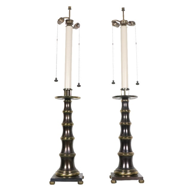 Stiffel Bronze Table Lamps - A Pair - Image 1 of 4