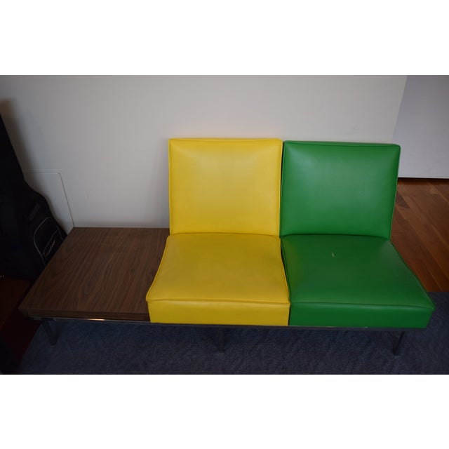 Modern Two-Tone Loveseat & Attached End Table - Image 3 of 7