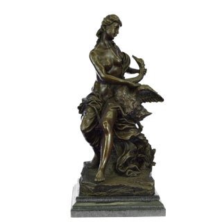 Nude Woman and Swan Statue on Marble Base Sculpture