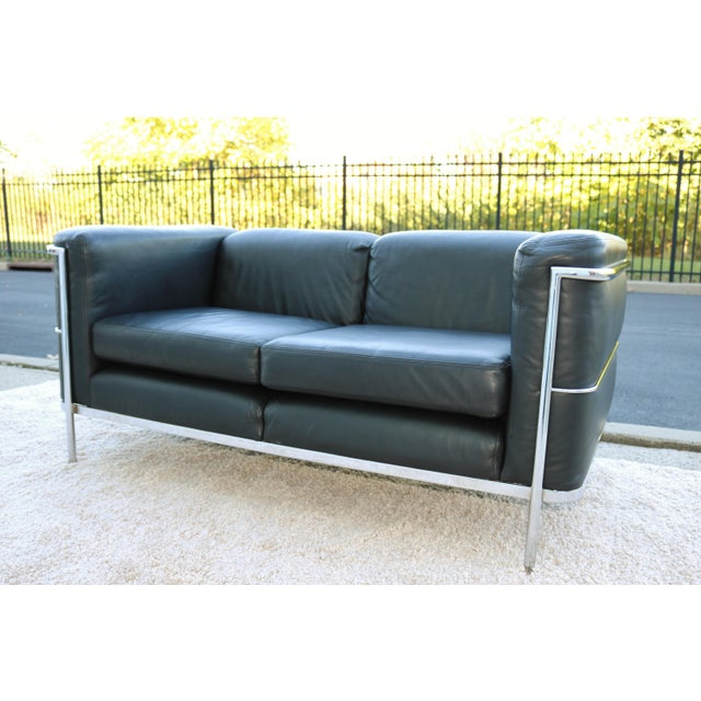 1980's Le Corbusier LC2 Jack Cartwright Black Leather Loveseat For Sale - Image 9 of 13