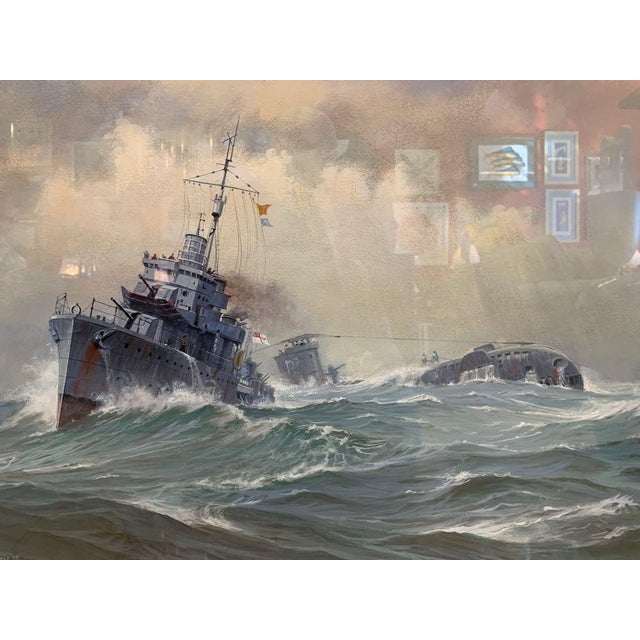 Dramatic scene by the great, British, marine painter David Brackman. Brackman depicts a struggle of ships vs. sea with the...