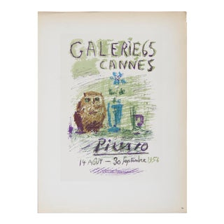 """Pablo Picasso Galerie 65 12.5"""" X 9.25"""" Lithograph 1959 Cubism Green For Sale"""