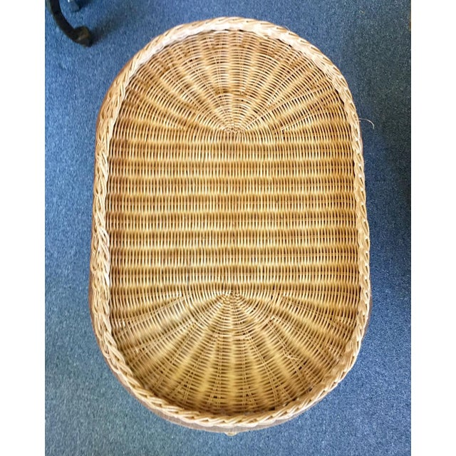 Rattan Vintage Woven Rattan Elephant Tray Table For Sale - Image 7 of 8