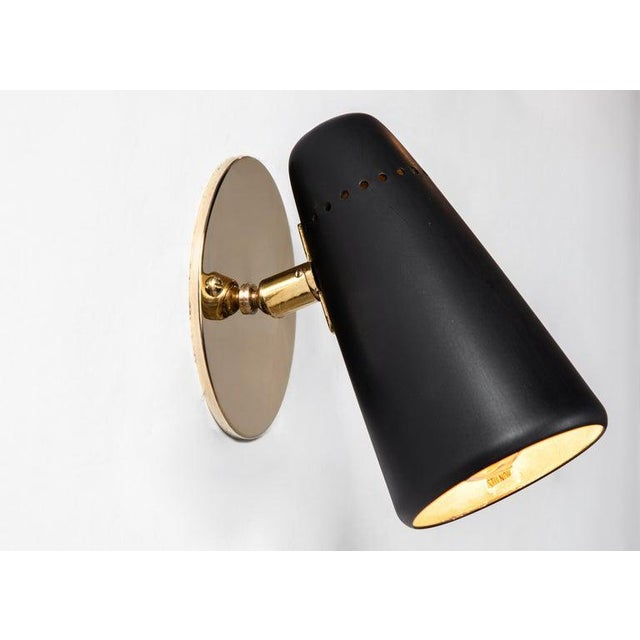 1950s Mid-Century Modern Stilnovo Sconces in Black and Brass With Yellow Label For Sale - Image 13 of 13