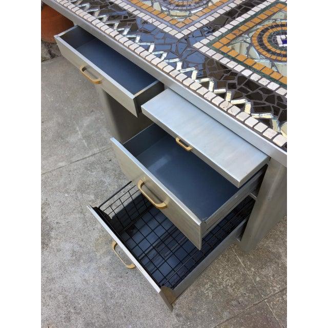1960's Vintage 3 Drawer Mosaic Top Steel Tanker Desk For Sale - Image 4 of 5