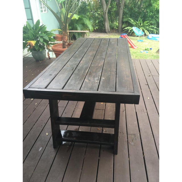 Dark Thick Wood Outdoor Dining Table Custom Made in Miami For Sale - Image 5 of 5