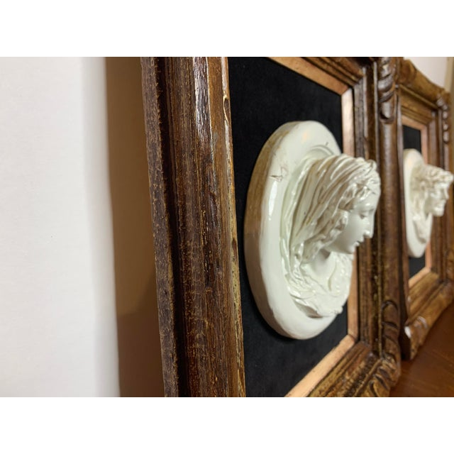 19th Century Glazed Chalkware Wall Mounting High Relief Bust Cameos - a Pair For Sale - Image 4 of 13