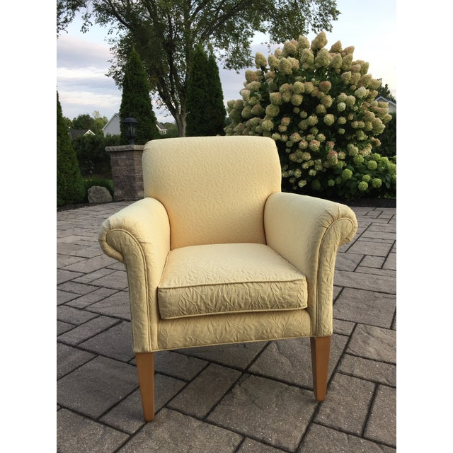 Ethan Allen Upholstered Yellow Accent Chair For Sale - Image 9 of 9