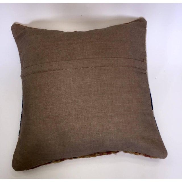 Blue & Brown Handmade Turkish Kilim Pillow Cover - Image 5 of 5