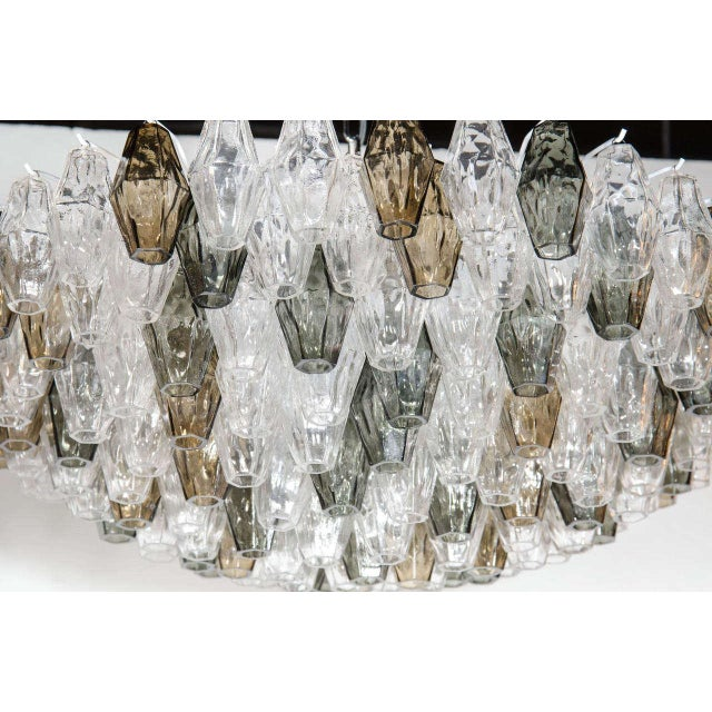 Modern Pair of Spectacular Handblown Murano Glass Polyhedral Chandeliers by Venini For Sale - Image 3 of 8