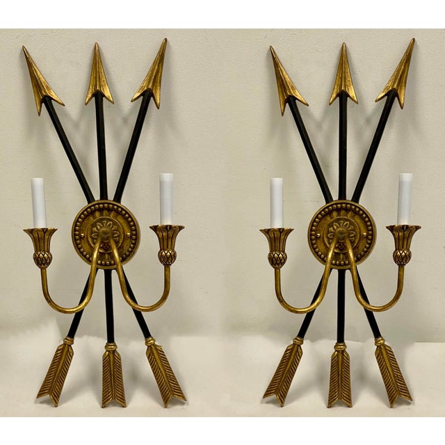 Black Vintage Neo-Classical Style Arrow Sconces - a Pair For Sale - Image 8 of 8