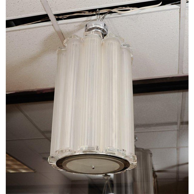 Transparent French Art Deco Ceiling Pendant Attributed to Sabino For Sale - Image 8 of 8
