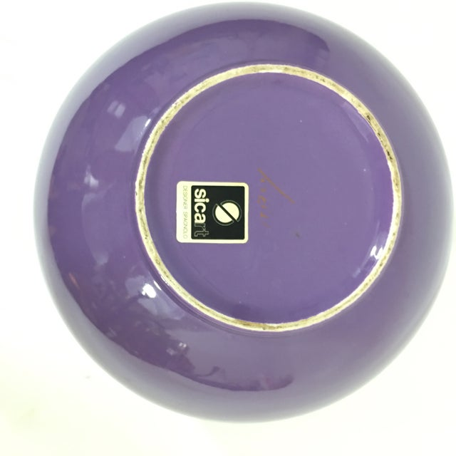 Art Deco Pino Spagnolo for Sicart 1970's Purple Globe Vase For Sale - Image 3 of 8