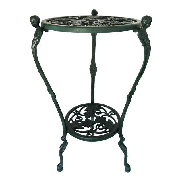 Two Tier Bottle Green Patio/Side Table (Aluminium) For Sale