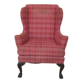 1960s Vintage Kittinger Cw-104 Colonial Williamsburg Claw Foot Wing Chair For Sale
