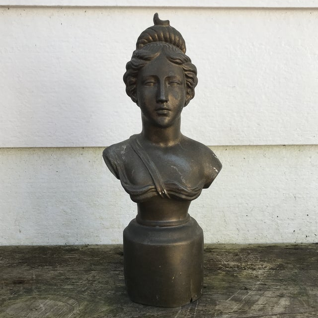 1930s Vintage Woman Bust Statue For Sale In Raleigh - Image 6 of 6