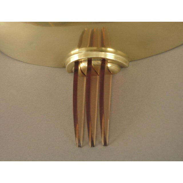 Art Deco Sublime Solid Brass French Art Deco/Moderne Wall Sconces with Peach Glass Fins For Sale - Image 3 of 4