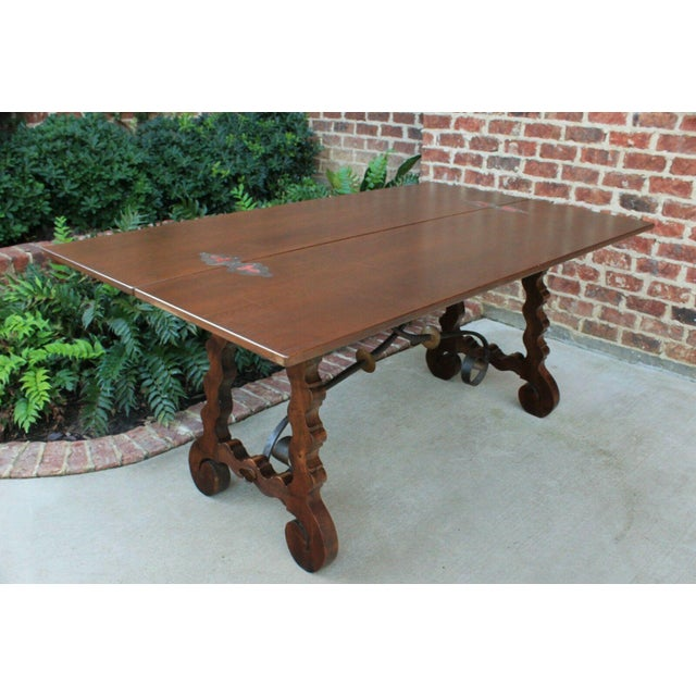 Antique French Spanish Walnut Mission Catalan Dining Table Sofa Table For Sale - Image 10 of 13