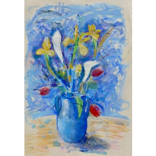 """""""Tulips, Lilies and Iris"""" Contemporary Still Life Painting on Paper by Humbert Curcuru For Sale"""