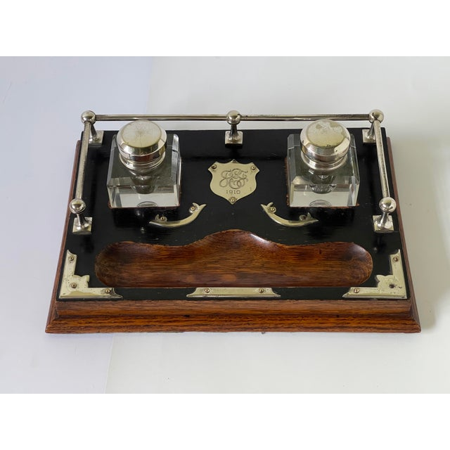 Early 20th Century Antique English Double Inkwell Desk Set For Sale - Image 5 of 12