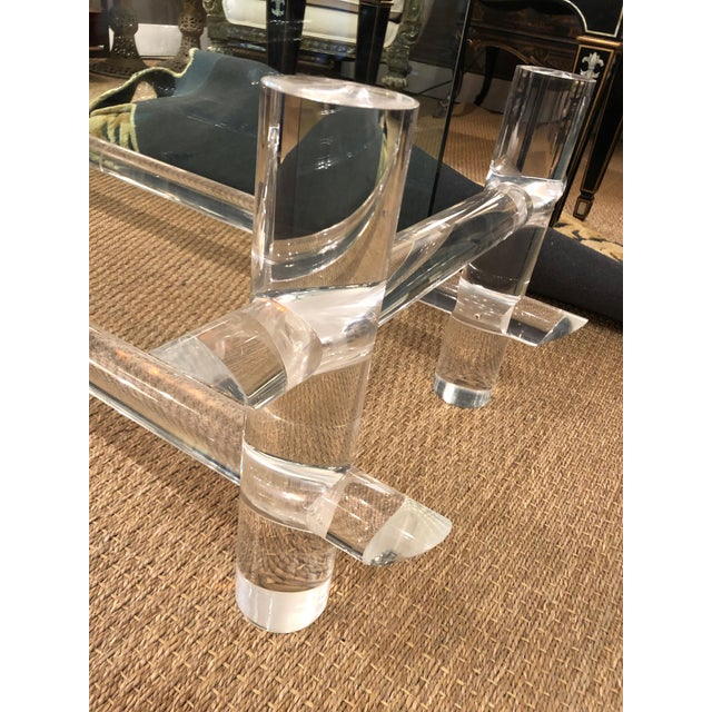 Lucite and Glass Coffee Table in the Style of Parzinger For Sale - Image 4 of 9