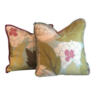 "Nina Campbell ""Chardon"" Down Filled Pillows 16"" X 16"" - a Pair For Sale"