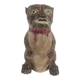 English Majolica Bulldog Pitcher