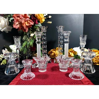Vintage Candle Holders Mixed Lot of Crystal Clear Assorted Brands - Set of 12 Preview