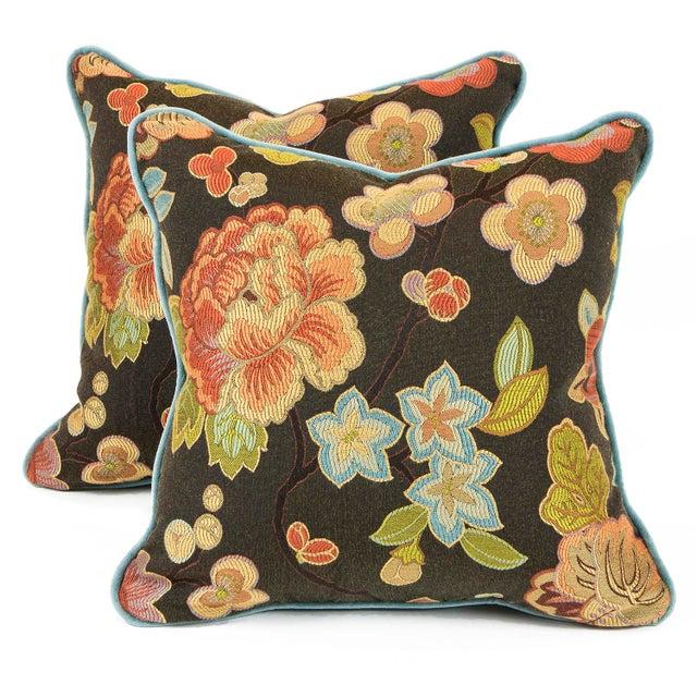 Cherry Blossom and Aqua Velvet Pillows - Pair For Sale