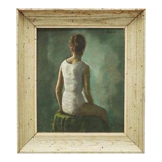 20th Century Oil Portrait of a Young Woman by Daniel Mistrik, 1960s For Sale