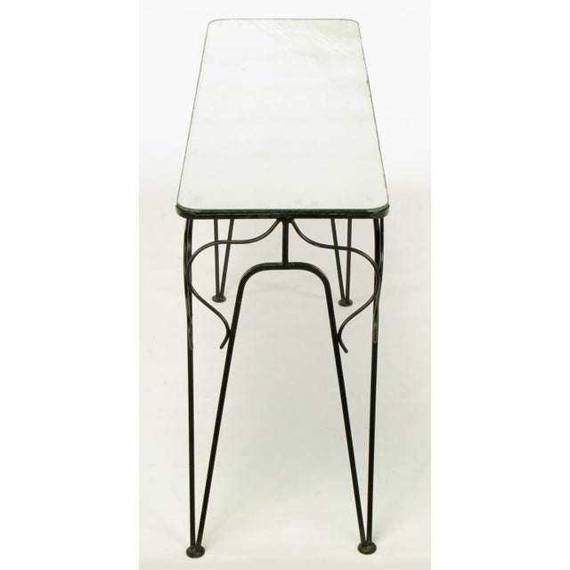 Early 20th Century Salterini Attr. Black Wrought Iron & Mirror Top Petite Console For Sale - Image 5 of 10