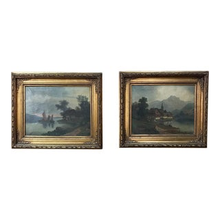 Pair 19th Century Framed Oil Paintings on Canvas For Sale